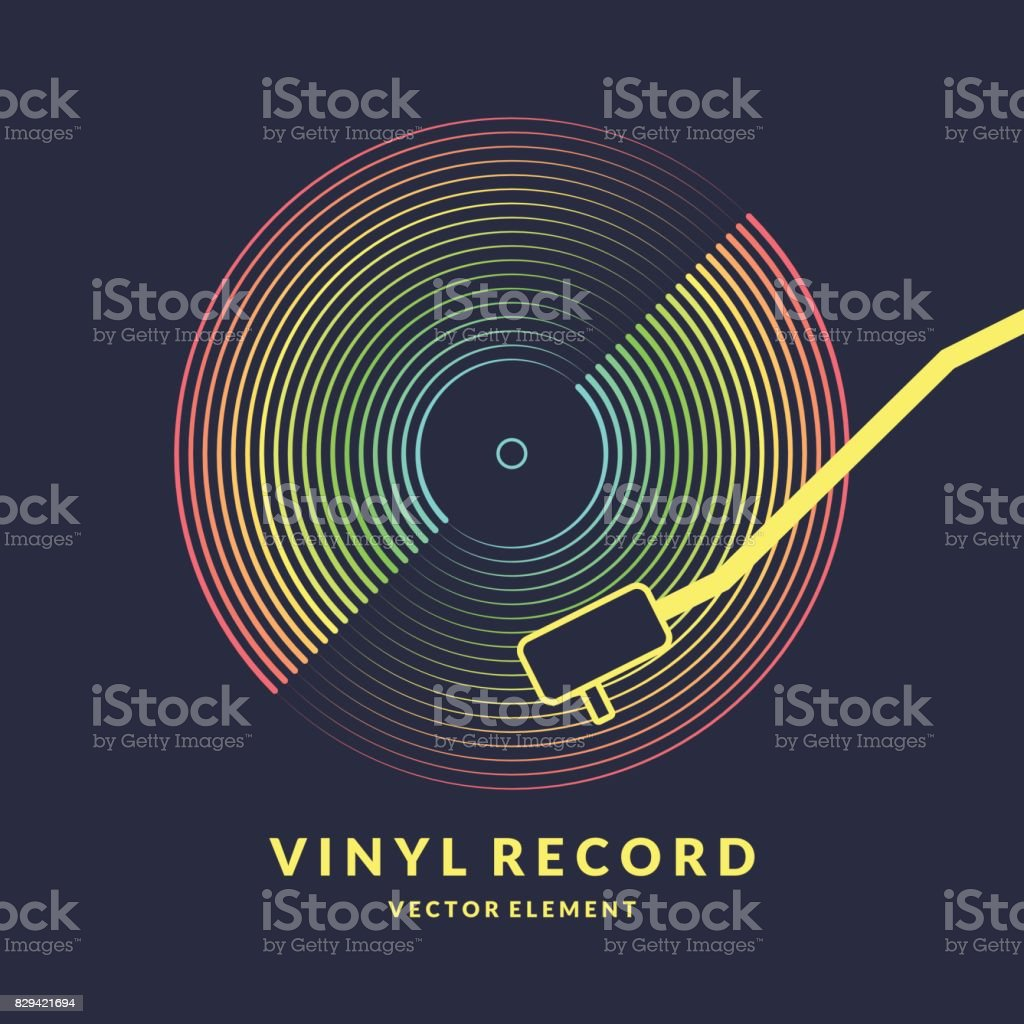 Poster of the Vinyl record. Vector illustration on dark background vector art illustration