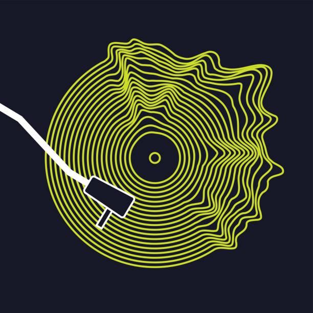 ilustrações, clipart, desenhos animados e ícones de cartaz do disco de vinil. ilustração em vetor em fundo escuro - toca discos