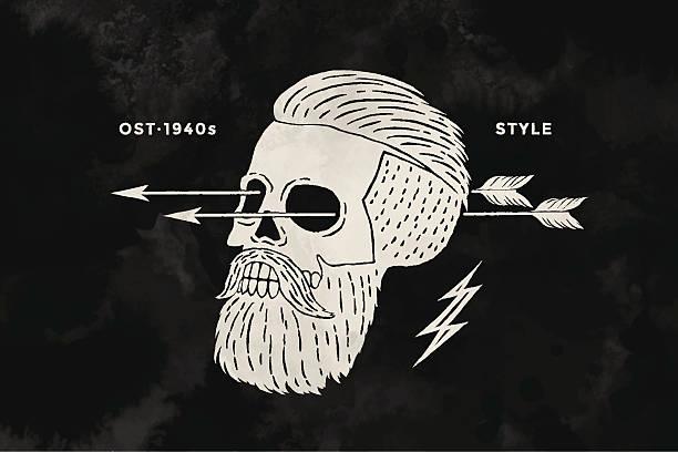 Poster of vintage skull hipster label for t-shirt print vector art illustration