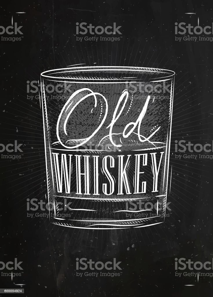 Poster old whiskey vector art illustration