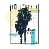 A poster on a t-shirt with palm trees of California. Old typography. Vector illustration.