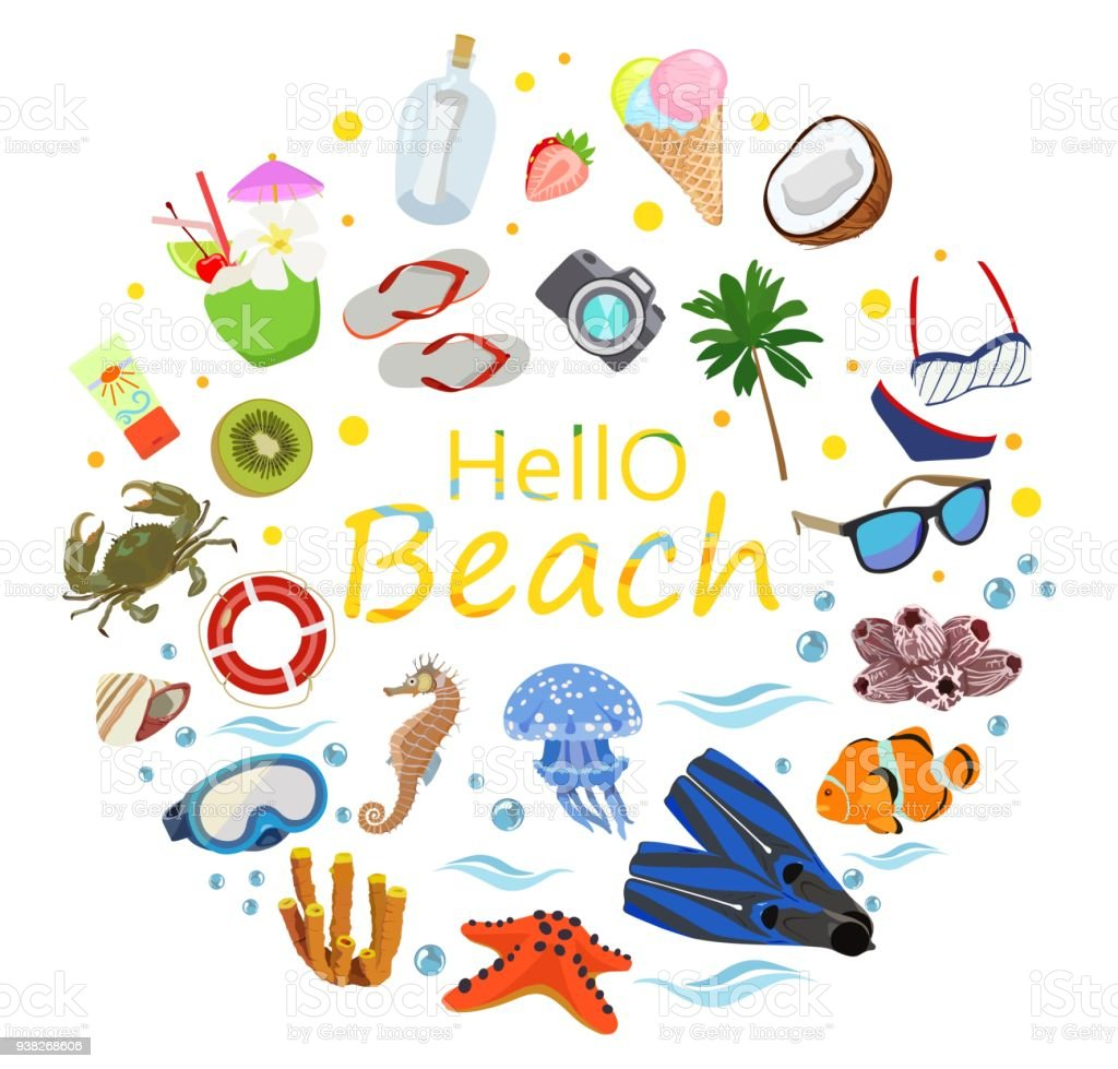 poster on theme of sea or ocean beach summer vector stock vector art rh istockphoto com summer vector free summer vector art