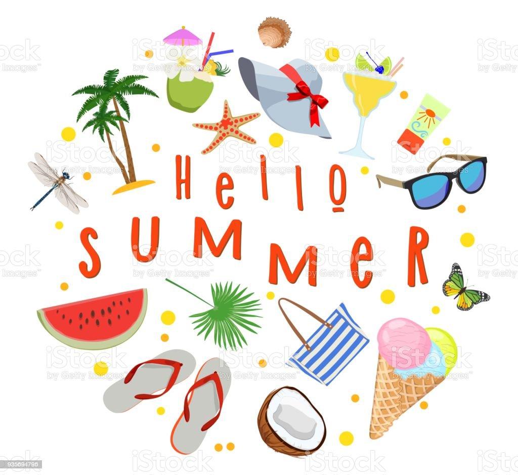 Póster sobre el tema de vacaciones de verano. Reunión de verano. Ilustración de vector. - ilustración de arte vectorial