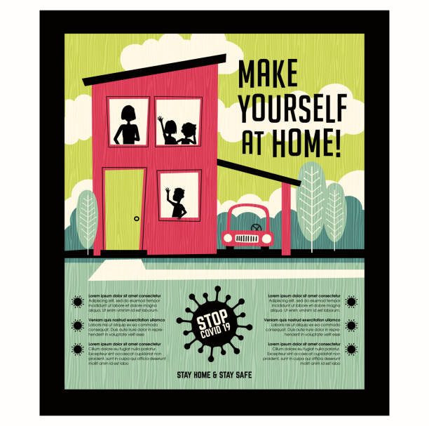 Poster or banner encouraging people to stay at home during coronavirus covid19 pandemic. vector art illustration