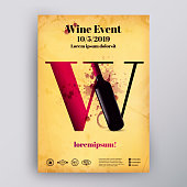 Poster or brochure design template. Wine letter concept and wine bottle illustration. Old paper background and wine stains. Retro style. Vector. Layered
