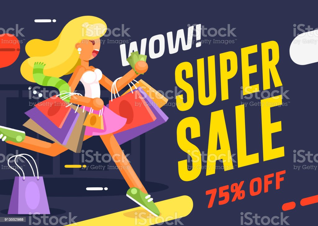 Poster Or Flyer Design Template With Young Running To Sale Woman In