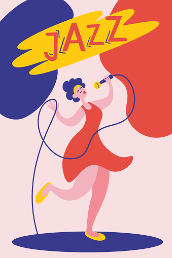 Poster or flyer template for jazz music performance with female singer.