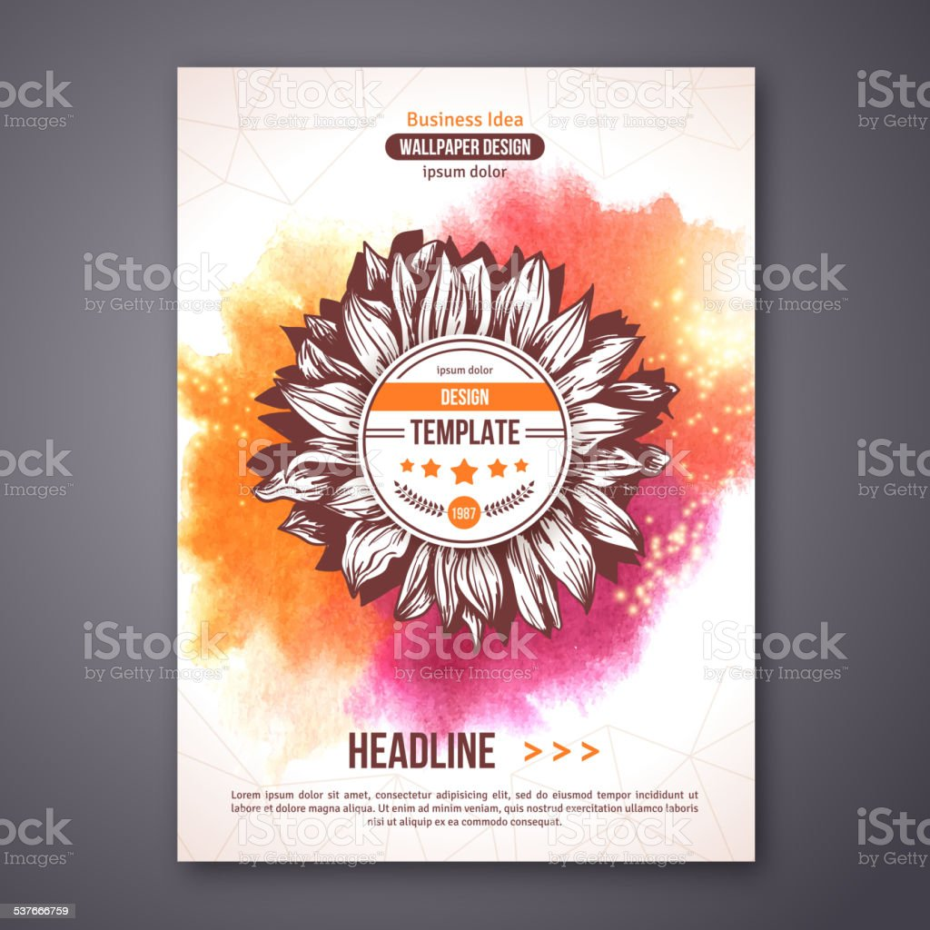 Poster Or Flyer Template With Watercolor Paint Abstract