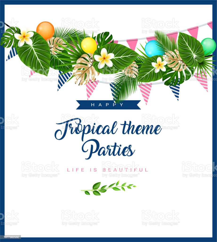 Beach Theme Card Stock: Poster Or Invitation Card With Tropical Themed Garland