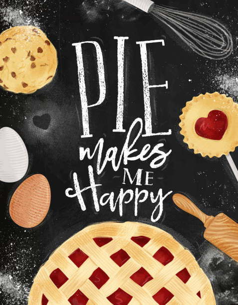 poster pie chalk - pie stock illustrations, clip art, cartoons, & icons