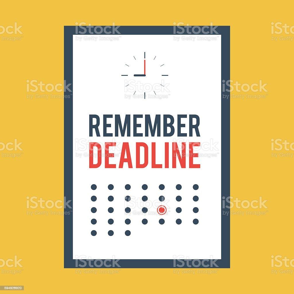 Poster remember deadline ベクターアートイラスト