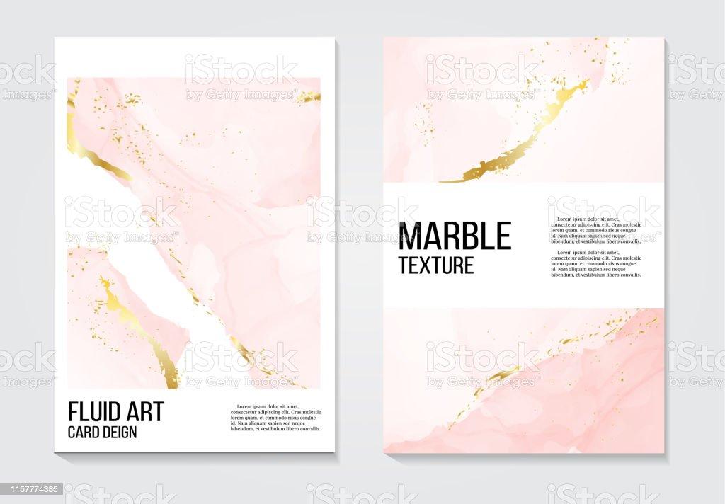 Plakat rose gold koncepcji zaproszeń i karty szablon design z malowane płótno różowy i złoty folia w luksusowym przetargu miękkiego stylu Ilustracja wektorowa - Grafika wektorowa royalty-free (Abstrakcja)