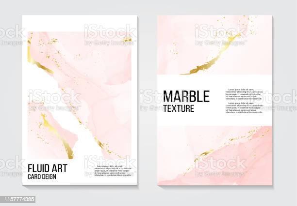 Plakat Rose Gold Koncepcji Zaproszeń I Karty Szablon Design Z Malowane Płótno Różowy I Złoty Folia W Luksusowym Przetargu Miękkiego Stylu Ilustracja Wektorowa - Stockowe grafiki wektorowe i więcej obrazów Abstrakcja