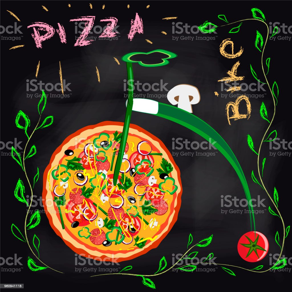 Plakat Runde heiße pizza - Lizenzfrei Fahrrad Vektorgrafik