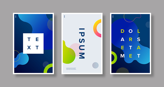Poster set design template with abstract fluid gradient graphics