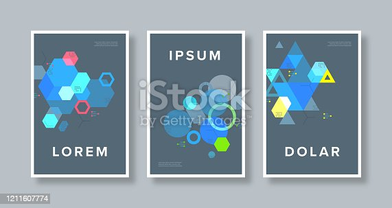 Abstract vector graphics applied to cover design template. Vector artwork is easy to colorize, manipulate, and scales to any size.