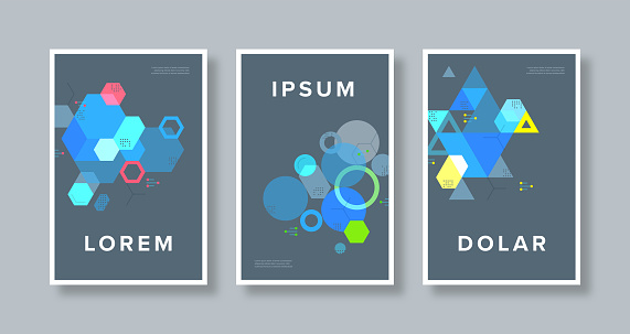 Poster set design template with retro abstract geometric science and technology illustrations on dark background