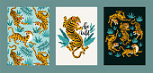 Vector poster set of tigers and tropical leaves. Trendy illustration.