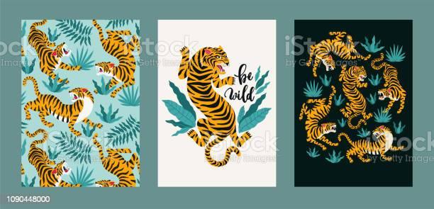 Poster set of tigers and tropical leaves trendy illustration vector id1090448000?b=1&k=6&m=1090448000&s=612x612&h=gvxvoh02edcnjjxgbyzekulfihe5wnynd sjkddje7k=