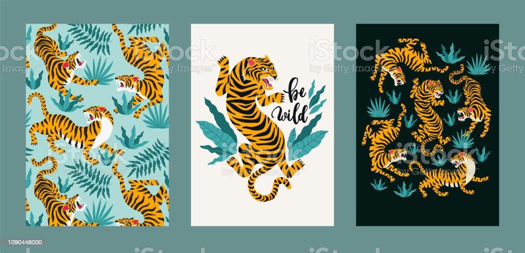 Plakat-Reihe von Tigern und tropische Blätter. Trendige Abbildung. – Vektorgrafik