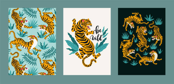 poster set of tigers and tropical leaves. trendy illustration. - tiger stock illustrations, clip art, cartoons, & icons