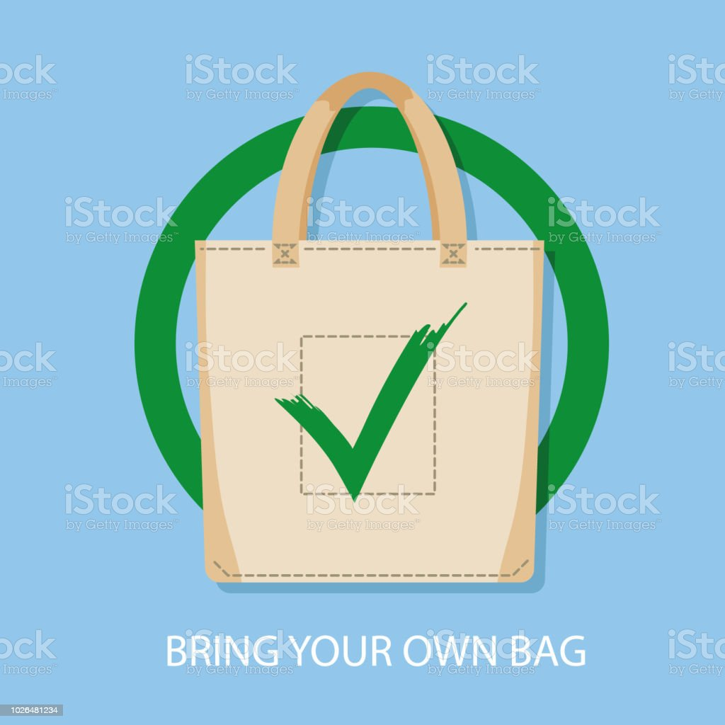 Poster sign encouraging to bring reusable bags for shopping instead of bying disposable package. Pollution problem concept. No plastic packets allowed, use textile or paper sac. Vector illustration vector art illustration