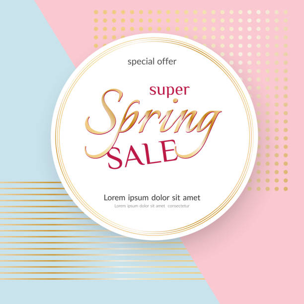 poster spring sale elegant golden specks pink background luxury card poster for advertising sale promotions discounts beautiful spring summer theme of fashion advertising sale discount vector tag - spring fashion stock illustrations, clip art, cartoons, & icons