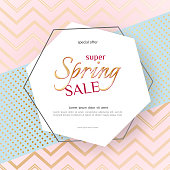 Poster Spring Sale Elegant golden specks zigzag pink background Luxury card poster for advertising sale promotions discounts Beautiful spring summer theme of fashion advertising sale discount Vector