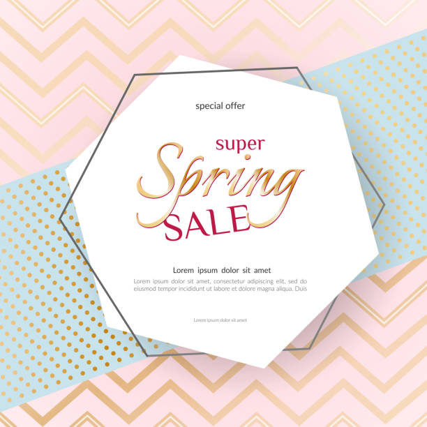 poster spring sale elegant golden specks zigzag pink background luxury card poster for advertising sale promotions discounts beautiful spring summer theme of fashion advertising sale discount vector - spring fashion stock illustrations, clip art, cartoons, & icons