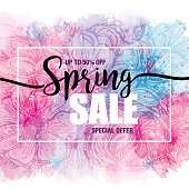 poster Spring sales on a floral watercolor background. Сard, label, flyer, banner design element. Vector illustration