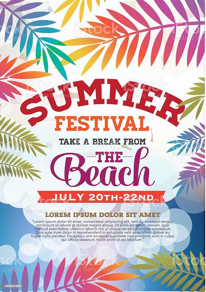brochure et affiche de la fête de l'été - Illustration vectorielle