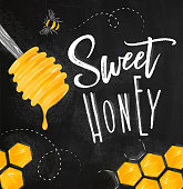 Poster illustrated honey spoon, honeycombs lettering sweet honey drawing on chalk background