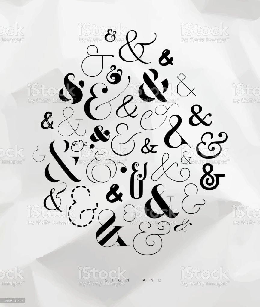 Poster symbol ampersand vector art illustration