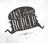 Poster take away burger