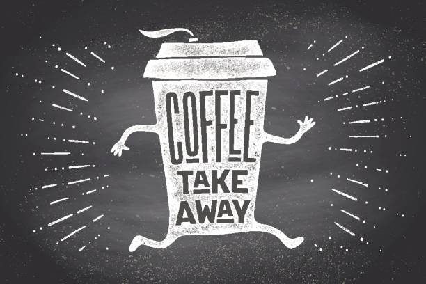 poster take out coffee cup with lettering coffee take away - junk food stock illustrations, clip art, cartoons, & icons
