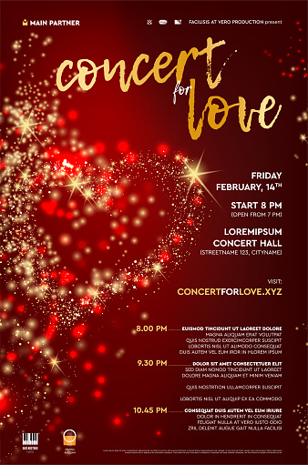 Poster template for abstract concert with red background and heart