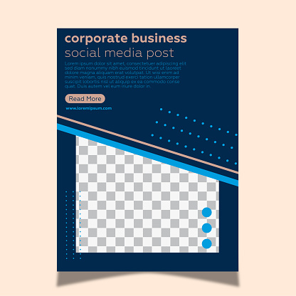 Poster template for corporate business. Pink background and geometric shapes.