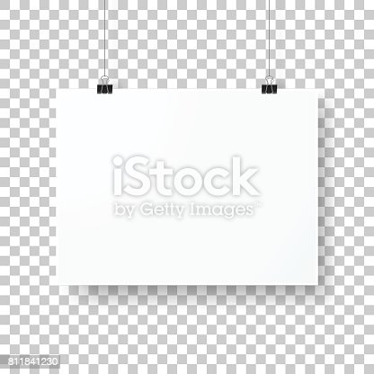 Realistic blank poster in horizontal position, isolated on an blank background, for your own design.