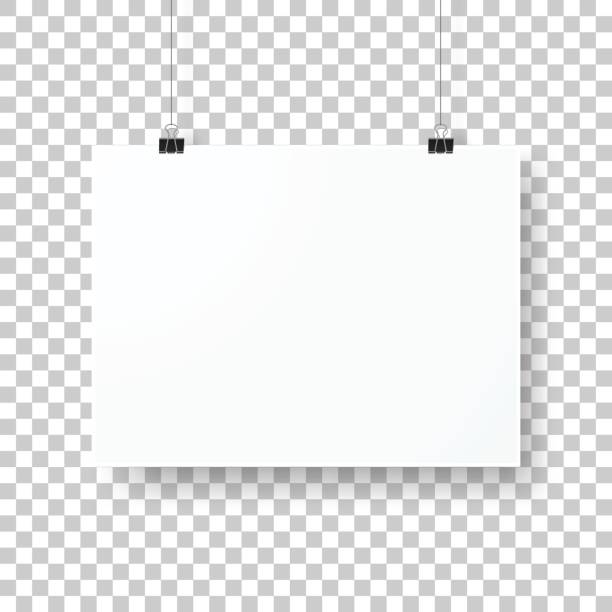 poster template isolated on blank background - wisieć stock illustrations