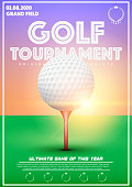 Poster Template with Golf Tournament. Cup and Trophy Advertising. Sport Event Announcement at sunset background. Vector Illustration.