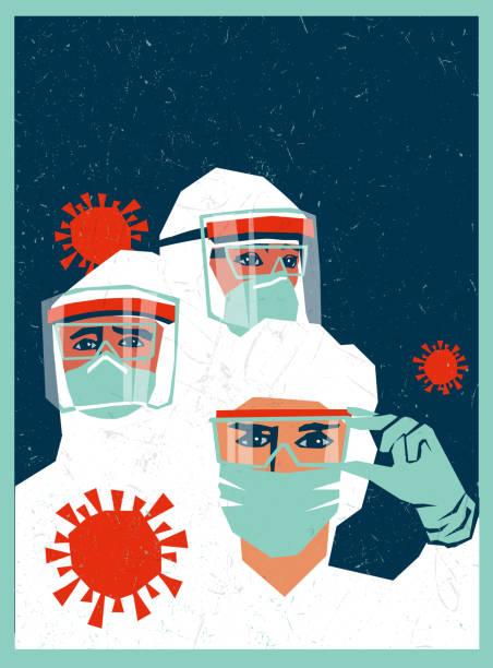 illustrations, cliparts, dessins animés et icônes de modèle d'affiche du personnel médical portant ppe, équipement de protection individuelle pour s'occuper des patients coronavirus covid-19. - medecin covid