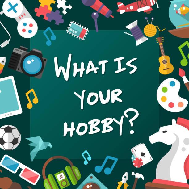 plakat szablon z nowoczesnych ikon płaskich design hobby i infographics - hobby stock illustrations