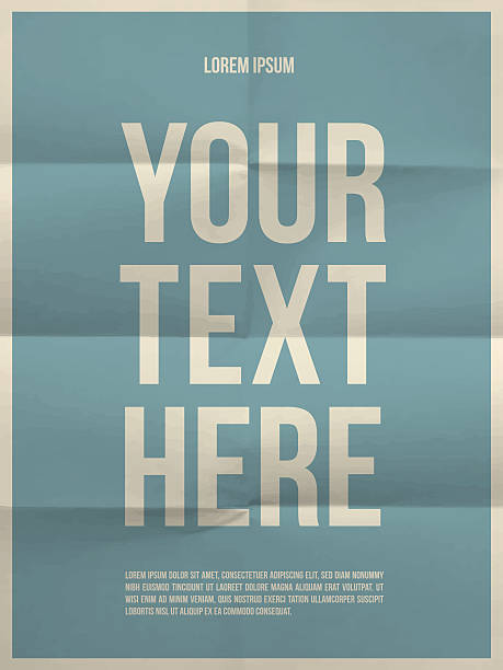 Poster template on folded in eight  paper texture Poster template on colorful folded in eight paper texture with frame alphabet backgrounds stock illustrations