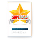 Poster template to celebrate father s day. Brochure with a yellow metal star, white ribbon and volumetric text Superdad. 3D illustration with an example of text and cover design