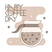 Cute poster template with a coffee pot and hand drawn lettering. Sparkling stars, coffee beans and brown blob in the background. Flat linear style illustration. Vector.