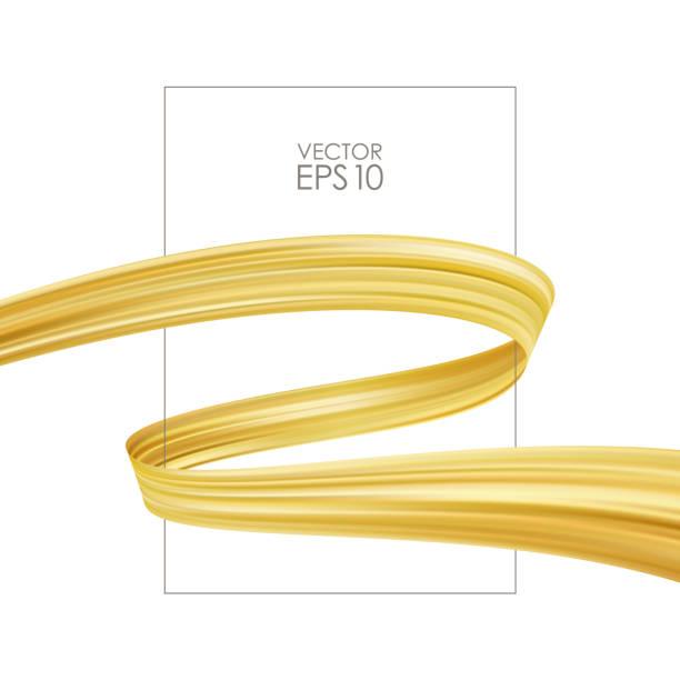 plakat-vorlage mit goldenen pinselstrich oder farbband für luxus-förderung auf weißem hintergrund. trendiges design - splash grafiken stock-grafiken, -clipart, -cartoons und -symbole