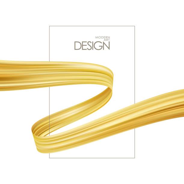 plakat-vorlage mit goldenen pinselstrich oder farbband für luxus-förderung. trendiges design - splash grafiken stock-grafiken, -clipart, -cartoons und -symbole