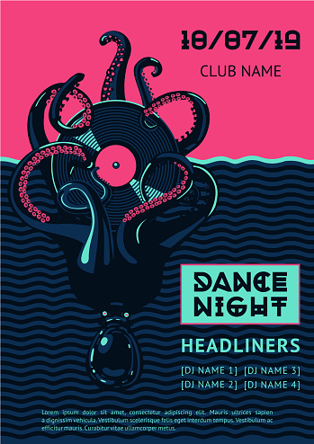 Poster template with octopus and vinyl record.