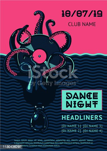 istock Poster template with octopus and vinyl record. 1130436297