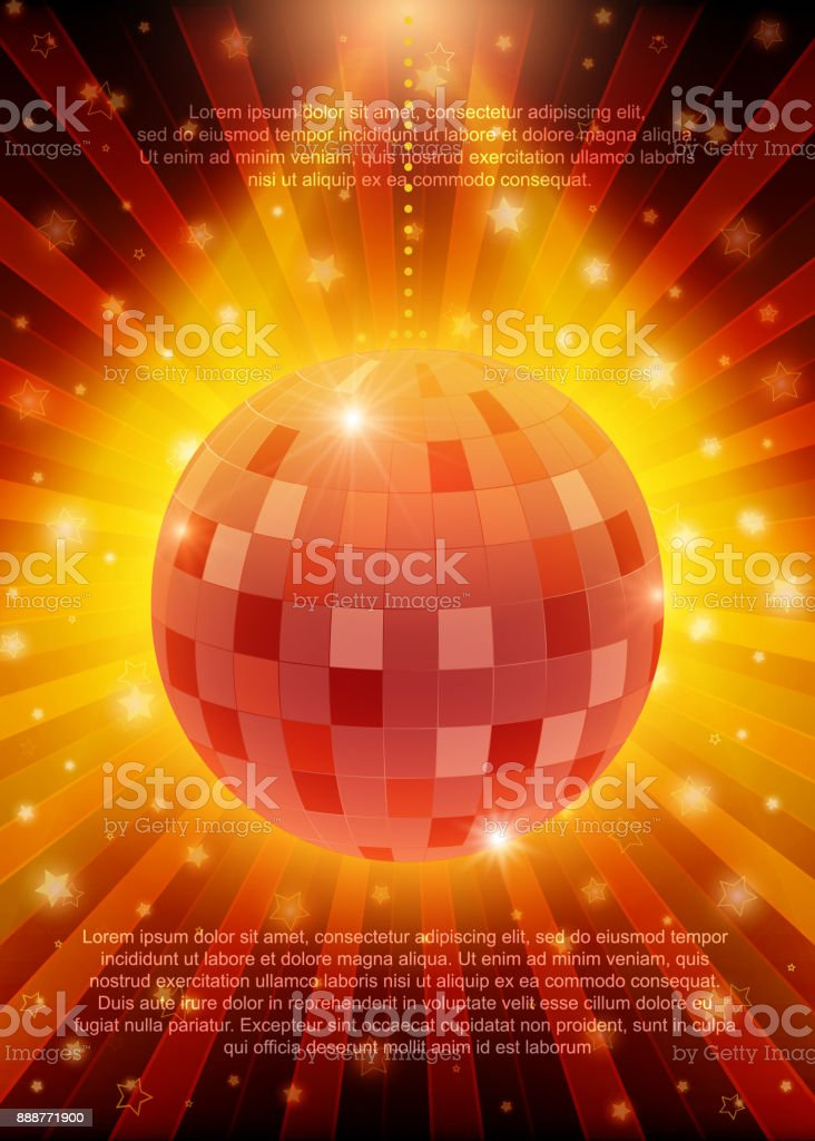 poster template with retro disco ball banner design for. Black Bedroom Furniture Sets. Home Design Ideas